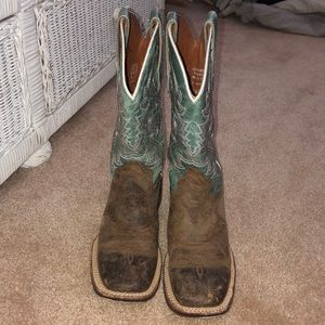 Dan post brown and turquoise women's boots